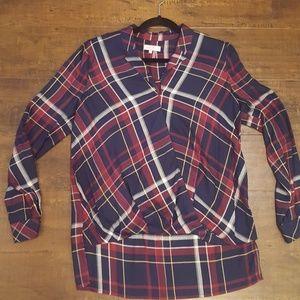 1. State plaid blouse medium
